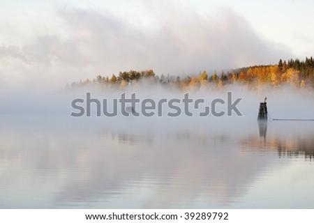 Lake landscape by Sunrise - stock photo