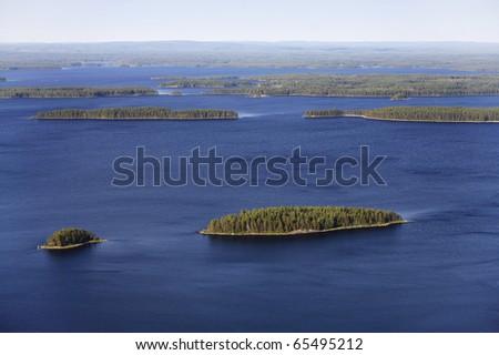Lake landscape in Finland. Lake Pielinen, Photographed from Koli Mountain in eastern Finland. - stock photo