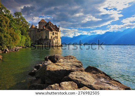 Lake Leman in fine weather. The beginning of autumn in Montreux, Switzerland - stock photo