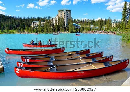 LAKE LOUISE, ALBERTA - AUGUST 1 - Chateau Lake Louise in Alberta, Canada on August 01, 2014. The beautiful Lake Louise is visited by millions of people every year. - stock photo