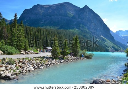 LAKE LOUISE, ALBERTA - AUGUST 1 - Lake Louise in Alberta, Canada on August 01, 2014. The beautiful Lake Louise is visited by millions of people every year.