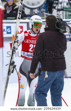 LAKE LOUISE ALBERTA CANADA  6 BECEMBER 2014: . Edit Miklos  (Hungary)reacts in the finish area after competing in the women's Audi FIS Alpine Skiing World Cup giant slalom race.