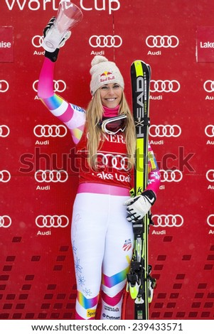 LAKE LOUISE ALBERTA CANADA , DEC 6 2014 : The happy Ms  Lindsey Vonn at the 2014 Audi FIS World Cup Super G after winning the race - stock photo