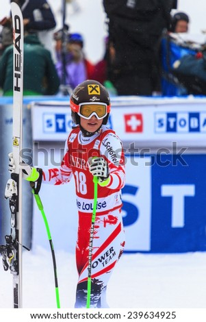 LAKE LOUISE ALBERTA CANADA  6 DECEMBER 2014: . Anna Feninger  (Swiss) reacts in the finish area after competing in the women's Audi FIS Alpine Skiing World Cup giant slalom race.  - stock photo