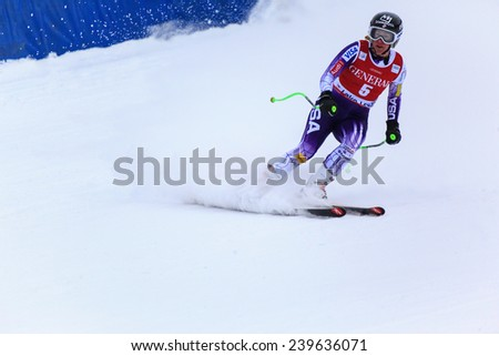 LAKE LOUISE ALBERTA CANADA  6 DECEMBER 2014: . Stacey Cook (USA) reacts in the finish area after competing in the women's Audi FIS Alpine Skiing World Cup giant slalom race.  - stock photo