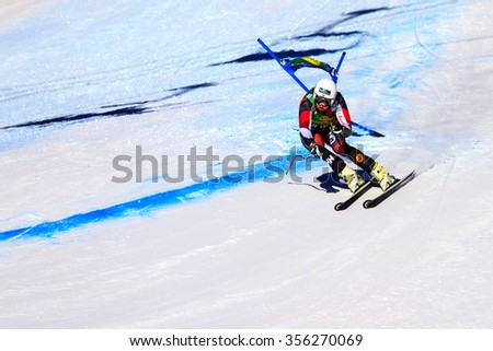 LAKE LOUISE, ALBERTA CANADA - OCT.29.2015. : 64 official entry speeds down the course during the Audi FIS Alpine Ski World Cup Men's race. The average speed is 132 km/h during the race.