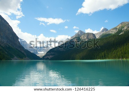 Lake Louise and beautiful mountains in Banff National Park, Canada.