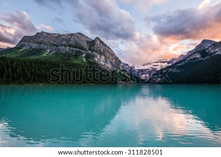Lake Louise at sunset in Banff National Park, Canada.