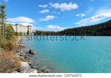Lake Louise in front of Unity Peak in Banff National Park Alberta Canada - stock photo