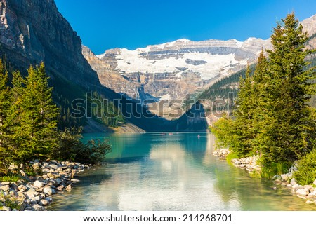 Lake Louise in summer at the Banff National park canada - stock photo