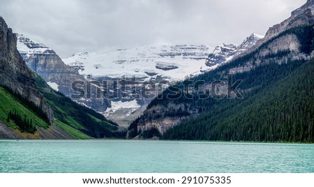 Lake Louise mountain lake panorama in Banff National Park, Alberta, Canada - stock photo