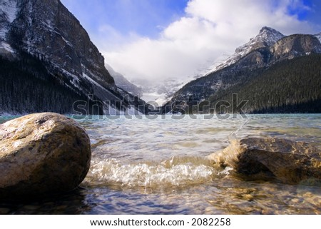 Lake louise on a cool windy day