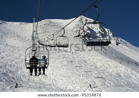 Lake Louise Ski Resort, Lake Louise, Banff National Park, Alberta, Canada - stock photo