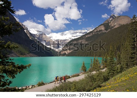 Lake Louise with hiking path, Canada - stock photo