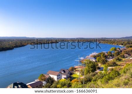 Lake Lyndon B. Johnson in the Texas Hill Country - stock photo