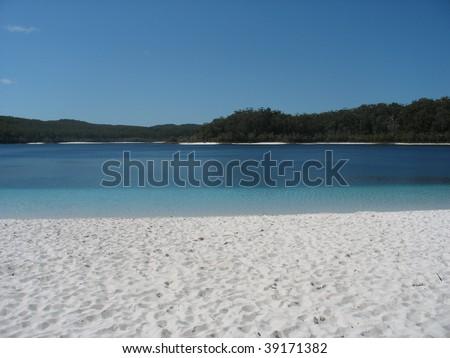 Lake MacQuarie on Fraser Island - stock photo