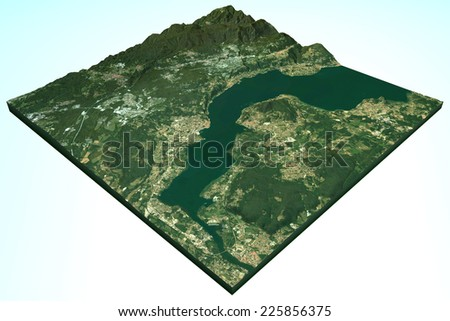 Lake Maggiore satellite view, 3D relief map, Italy. Element of this image are furnished by NASA