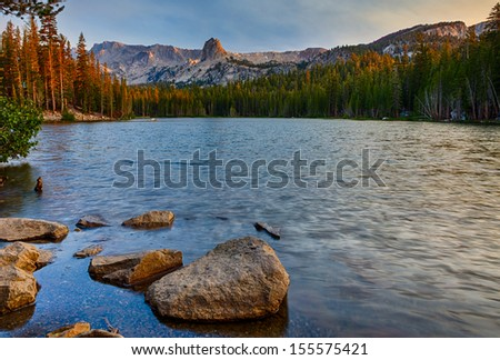 Lake Mamie near Mammoth Lakes at sunrise in the California Eastern Sierra Mountains. - stock photo