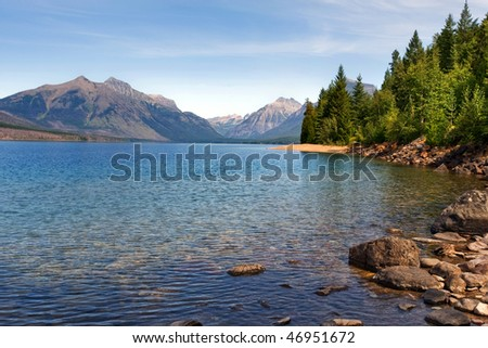 Lake McDonald, the largest lake in Glacier National park, Montana - stock photo