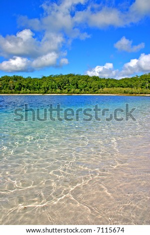 Lake McKenzie is one of the popular freshwater lake at Fraser Island, Australia - stock photo