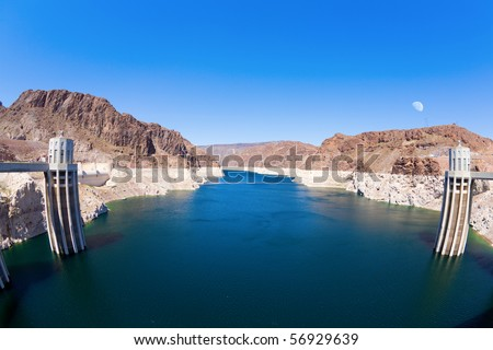Lake Mead behind Hoover Dam - stock photo