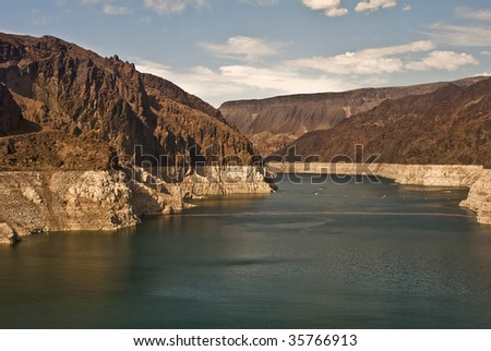 Lake Mead in Nevada behind Hoover Dam - stock photo