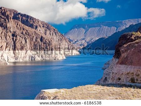 Lake Mead just behind Hoover Dam - stock photo