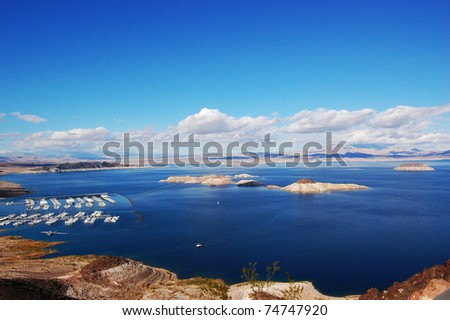 Lake Mead near Hoover Dam in Nevada - stock photo