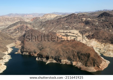Lake Mead reservoir in the Grand Canyon with drought visible in Nevada and Arizona in the USA - stock photo