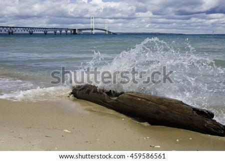 Lake Michigan at the U.P. with Mackinac Bridge. - stock photo