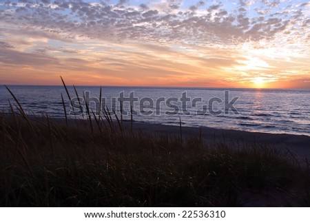 Lake Michigan beach - stock photo