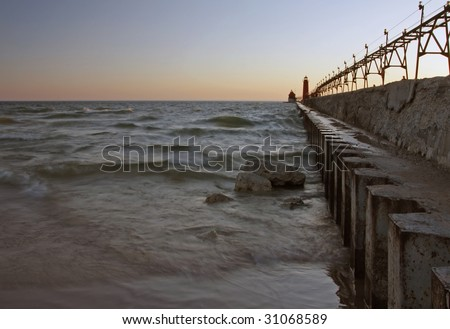 Lake Michigan lighthouses and pier