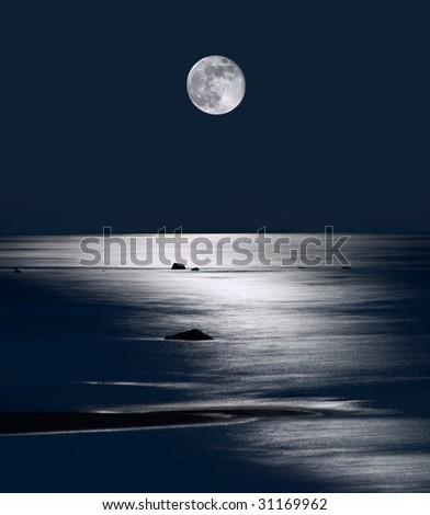 Lake Michigan Moonrise, Upper Peninsula, Michigan - stock photo