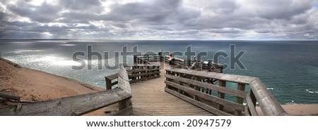 Lake Michigan Overlook, Sleeping Bear Sand Dunes, Michigan - stock photo