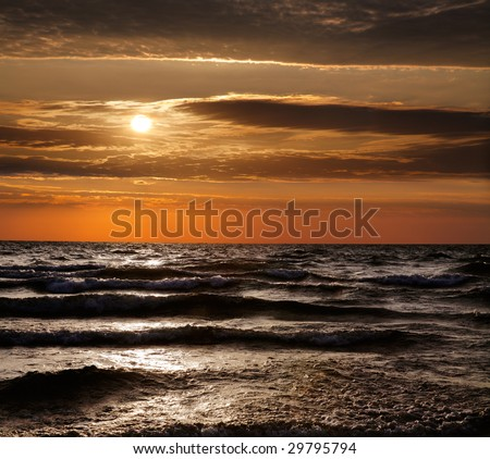 Lake Michigan Sunset, Grand Haven, Michigan - stock photo