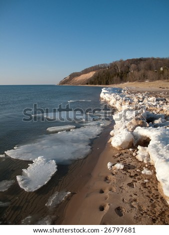 Lake Michigan with snow