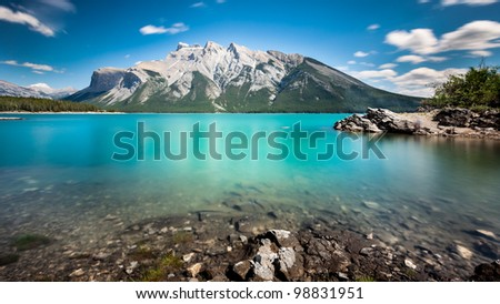 Lake Minnewanka,Banff National Park. This is the largest lake in the Canadian Rockies. - stock photo