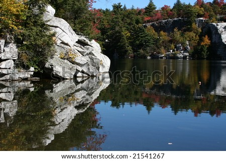 Lake Minnewaska State Park, in the Shawangunk Mountains. - stock photo