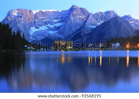 Lake Misurina at evening - stock photo