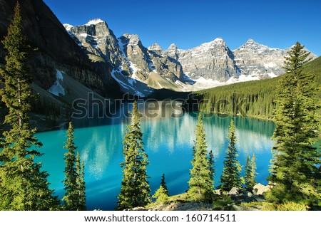 Lake Moraine, Banff national park - stock photo