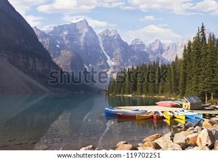 Lake Moraine, Banff National Park, Alberta, Canada - stock photo