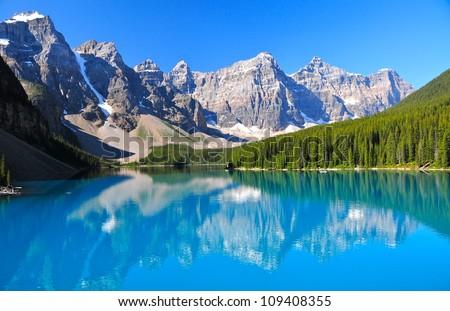 Lake Morraine, Banff National Park, AB - stock photo