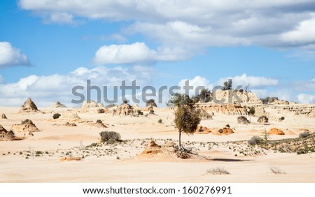 Lake Mungo is former inland lake now covered in strange formations. - stock photo