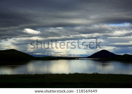 Lake Myvatn at dusk Iceland - stock photo
