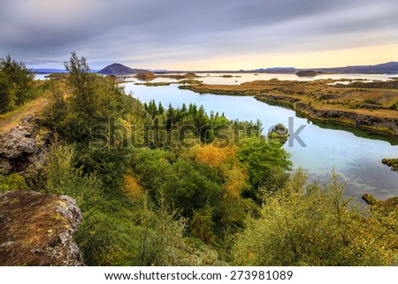 Lake Myvatn in Northern Iceland - stock photo