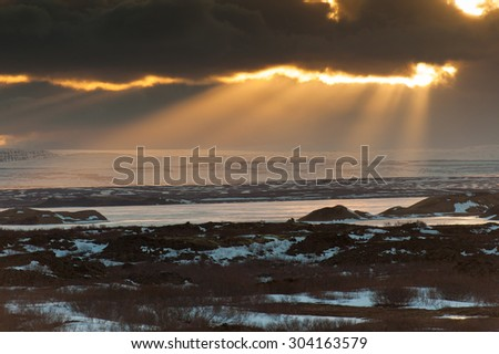 Lake Myvatn in sunset, northern Iceland. - stock photo