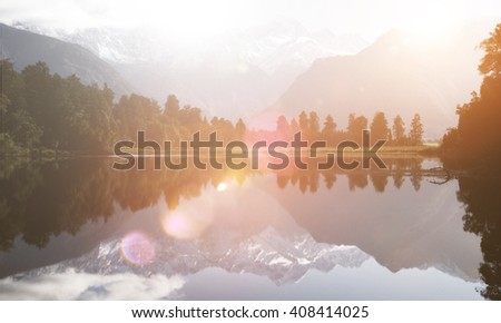 Lake Nature Cloud Environment Solitude Tranquil Concept - stock photo