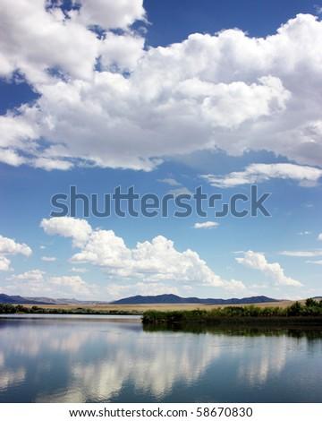 Lake near Blackfoot Idaho, Bingham County - stock photo