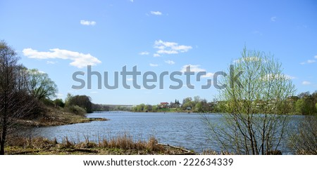 Lake near cottages (Russia) - stock photo