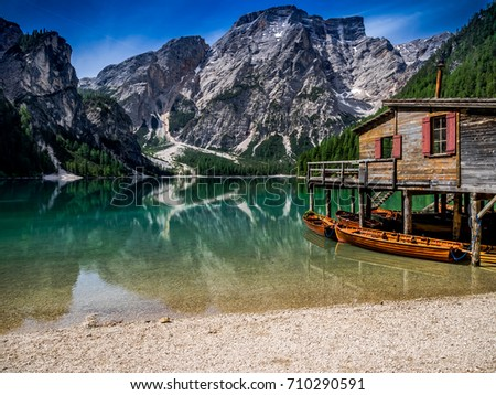 Lake of Braies. panorama of the Italian Alps